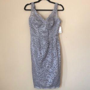 David's Bridal Formal Dress Silver Size 2